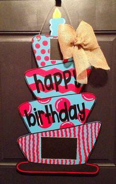 Custom Birthday Wooden Door Hanger by SweetSophieJacks on Etsy