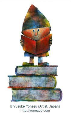 Gnome reading book. © Yusuke Yonezu (Artist, Japan) via the artist website: Nakaniwa. Award-winning book illustrator. Too dang cute. Love the colors!