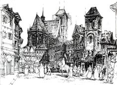 'Medieval town', pen historical architecture drawing by Łukasz Gać from Poland.