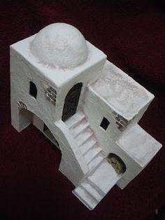 He fabricado varios modelos diferentes de casitas para belenes, totalmente artesanales. Para su elaboración he usado cartón, yeso, madera y ... Art Village, Building Art, Paper Houses, Miniature Houses, Simple House, Nativity, Egypt, Diy And Crafts, Christmas Decorations