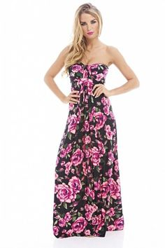 Pink Floral Printed  Strapless Summer Dress