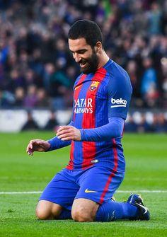 Ardan Turan of FC Barcelona celebrates after scoring his team's fourth goalduring the La Liga match between FC Barcelona and UD Las Palmas at Camp Nou stadium on January 14, 2017 in Barcelona, Spain.
