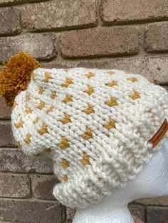 Excited to share this item from my #etsy shop: Knitted cream slouchy beanie, mustard pompom beanie hat, cream ladies beanie, cream mustard fair isle beanie, PomPom beanie hat Slouchy Beanie, Beanie Hats, Etsy Handmade, Handmade Items, Fair Isle Pattern, Knit In The Round, Hand Knitting, Collaboration