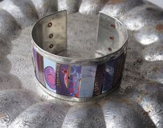 Shades of Plum Mixed Tin Cuff Purple Tin by eaststreettins on Etsy