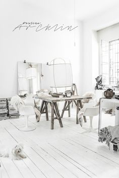 White bohemian Milan loft by Paulina Arcklin White Interior Design, Home Interior, Warehouse Living, Deco Boheme, Loft House, Loft Design, Living Room Remodel, Home And Deco, Shabby Chic Style