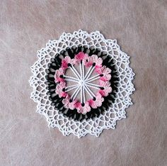 Pink Violets Crochet Lace Doily, Flower Garden Doily, New Table Accent, Home Decor, Fiber Art, Handmade by NutmegCottage