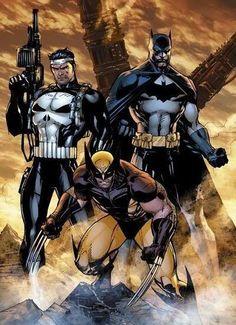 Jim Lee art: Punisher, Batman and Wolverine