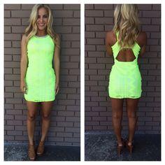 Neon Green Beaded Open Back Dress
