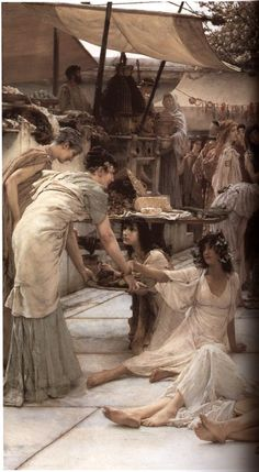 Victorian Paintings of Women | ... The Women of Amphissa by Lawrence Alma-Tadema. Right: Entire painting