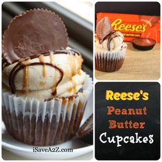Easy Reese's Peanut Butter Cupcakes Recipe... Made these for Matt's work and they loved them!