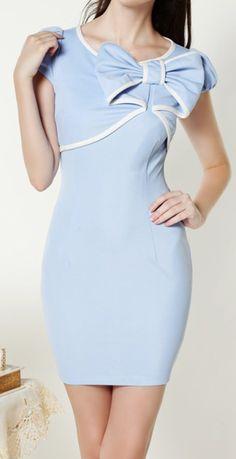 BowKnot  Blue, White Trim | Dress.