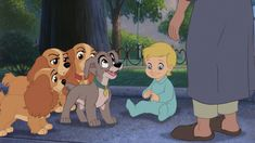 """Annette, Collette, Danielle, and Scamp with Junior from """"Lady and the Tramp II: Scamp's Adventure"""" by Disney Television Animation. Walt Disney Pixar, Disney Pixar Movies, Disney Dogs, Disney And Dreamworks, Disney Art, Disney Magic, Nickelodeon Cartoons, Disney Cartoons, Walt Disney Animation Studios"""