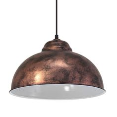 Vintage Coppery 370 Pendant Light, the shade has a White Inner Colour. This light fitting adds a Retro Style to any room with its unique design. Eglo 49248