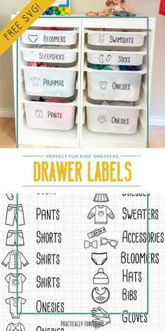 Organize kids clothing with these cute dresser drawer labels; the images make it so even young kids can help put away their clothes in the right drawer! Grab the free printable or free SVG file here! Vinyl Labels, Printable Labels, Free Printable, Printable Recipe, Kids Clothes Organization, Dresser Organization, Baby Drawer, Clothes Drawer, Drawer Labels