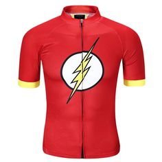 Flash red short sleeve t shirt for Men Superhero Cycling Jersey