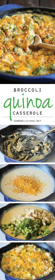 Quinoa Casserole Broccoli Quinoa Casserole - Healthy, cheesy comfort food without any of the guilt!Broccoli Quinoa Casserole - Healthy, cheesy comfort food without any of the guilt! Veggie Recipes, Vegetarian Recipes, Chicken Recipes, Dinner Recipes, Cooking Recipes, Healthy Recipes, Paleo Dinner, Healthy Meals, Delicious Recipes