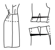 Sway back adjustment, on skirt back just below waistline, fold out desired amount and redraw side seam, dart, and center back seam.