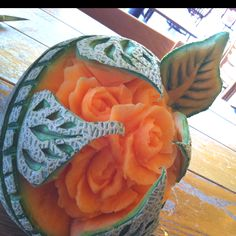 Cantaloupe  carving by master food artist Carl Jones.