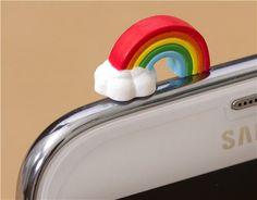 cute rainbow mobile phone plugy earphone jack accessory 1