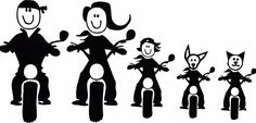 Motorcycle Family Stick FIgures For Car Window! Silhouette Vinyl, Silhouette Cameo Projects, Silhouette Design, Family Car Decals, Family Stickers, Vinyl Crafts, Vinyl Projects, Cricut Vinyl, Vinyl Decals
