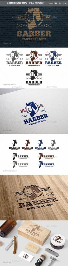 Barber Logo Template — Photoshop PSD #pomade #hair salon • Available here → https://graphicriver.net/item/barber-logo-template/15740102?ref=pxcr