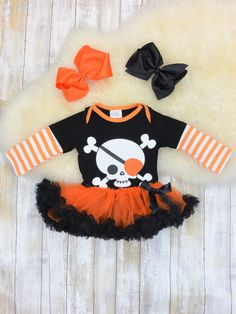 Hoter Baby Girls Halloween Outfit Costume Pumpkin Romper Tutu Skirt with Headband Set S-XL
