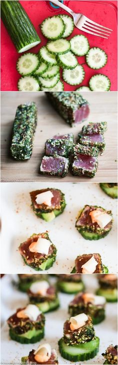 Spicy Ahi Tuna Cucumber Avocado Appetizers with Pickled Ginger - impressive and easy to assemble for holiday cocktail parties