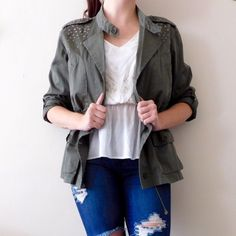 Style & Co Utility Jacket In excellent condition! Size large, could also accommodate a size medium {I'm a size 10-12 in jackets and you can see how it fits me} Perfect fall staple! Features bling around the front/shoulder area, and has an internal drawstring to tighten/loosen. Smoke/pet free home. Ask all questions before buying! No trades ❌ bundle for a discount  •jeans not for sale, booties for sale separately• Style & Co Jackets & Coats Utility Jackets