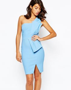 Image 1 of Vesper Sexy Pencil Dress with Bow Tie Waist