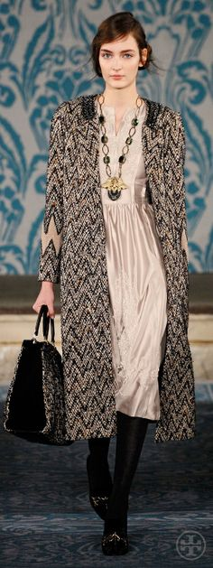 Look 1, Zuzanna: Beaded tweed coat, Beaded taffeta dress