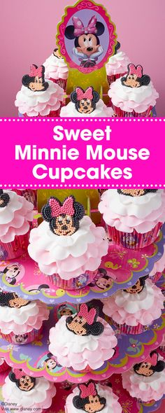Decorated with sweet pink and white ruffles, these Sweet Minnie Mouse Cupcakes are a great treat for a Disney Minnie Mouse-themed birthday party. Topped with a Minnie icing decoration, these cupcakes are simple and fun to make, and a great project for beginning decorators.
