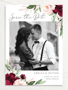 Beloved Floral Photo Save the Date Cards in Red Colorful Wedding Invitations, Wedding Invitation Trends, Wedding Colors, Wedding Ideas, Wedding Planning, Floral Save The Dates, Save The Date Photos, Save The Date Cards, Wedding Response Cards