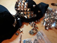 Studded and spiked bra in progress - this guy is going to fly to L.A. :3