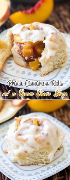Peach Cinnamon Rolls with a Cream Cheese Glaze