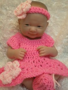 Clothes For 14 and 15 inch Dolls.Hot pink by LoveWhatIDoCrochet4U