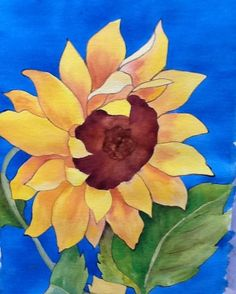 """Sunflower Art - """"Blue Skies Smilin at Me"""" - Artwork by Lorraine Skala (for notecards or prints request by email - lorriskala@aol.com"""