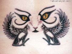 Egyptian Bastet Cat Goddess | Egyptian Cat Winged Bastet Tattoos