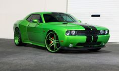 Asanti Wheels, the leader in custom luxury wheels.  Green Dodge Challenger with custom green and black cx-173 wheels