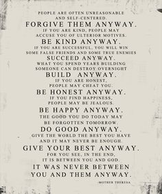 Originally from Jesus - Matthew 5:3 - 12 Mother Theresa Quote Forgive Them Anyway STOCK Art PRINT by Geezees