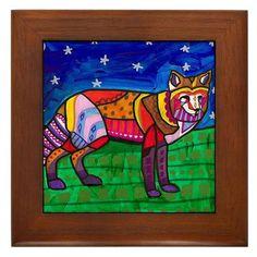 Framed Ceramic Tile  red fox Folk Art Tile by HeatherGallerArt, $45.00