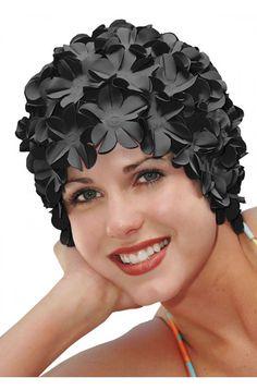 28ab35fb5e5 Vintage Style Flower Swim Cap Black Retro by HeadcoversUnlimited Cap Store, Retro  Swim, Vintage