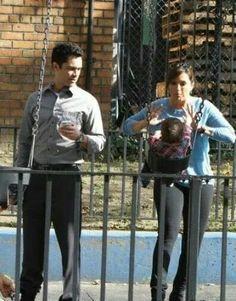 Danny Pino with Mariska Hargitay playing with baby Noah at the park