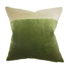 """2-tone velvet pillow in pebble with a feather-down fill. Made in the USA.   Product: PillowConstruction Material: Velvet and 95/5 down fillColor: Pebblestone and jadeFeatures:  Insert includedHidden zipper closureMade in the USA Dimensions: 18"""" x 18""""Cleaning and Care: Spot clean"""