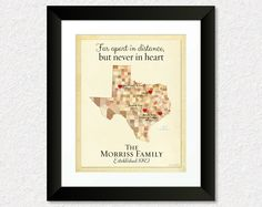 Christmas Gift for Family, Long Distance Family Map, Present for Dad, Birthday Gift for Mom, Texas Map, Can be made for any State by KeepsakeMaps on Etsy #GiftForFamily #PersonalizedGift #TexasMap #LongDistance #GiftForMom #GiftForDad #KeepsakeMaps #MapArt