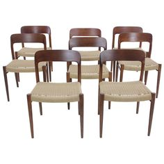 Rare Set of Eight Danish Modern Oak Dining Chairs Designed by JL Moller   From a unique collection of antique and modern dining room chairs at https://www.1stdibs.com/furniture/seating/dining-room-chairs/