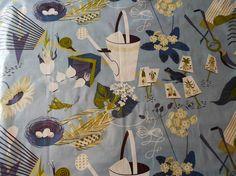 1960's Blue Garden Theme Chintz Vintage Fabric on Etsy, $18.00