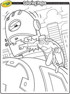 Super Hero Battling a Giant Robot