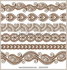 Vector set with abstract floral elements in indian style Ornamental seamless borders. Vector set with abstract floral elements in indian style Mehndi Patterns, Doodle Patterns, Zentangle Patterns, Embroidery Patterns, Zentangles, Embroidery Digitizing, Indian Patterns, Indian Embroidery, Henna Tatoo