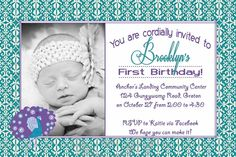 Cookie's beautiful Peacock 1st Birthday Invites, Thank You @Margo Cox Eubank  {Sleepytime dezigns}