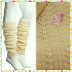 NWT LOW PRICED IVORY/GOLD-THREAD LEGWARMERS It's Important. It's Just the Right thing to do.  Stay Warm and Yet be Chic,   So Add to Your Winter Fashion with these L o w priced Ready to Ship Legwarmers 100% Acrylic Mix No.6  Accessories Hosiery & Socks
